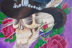 art-Charles-skull with C hat and roses