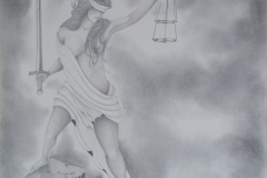 Lady of justice in grey tones